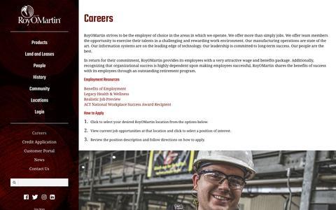 Screenshot of Jobs Page royomartin.com - RoyOMartin   Careers - captured Sept. 21, 2018