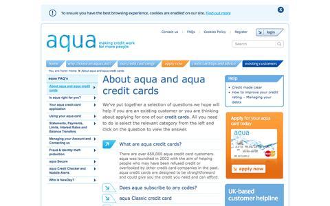 Screenshot of FAQ Page aquacard.co.uk - Who Is Newday - Credit Card FAQ | aqua - captured Nov. 2, 2014