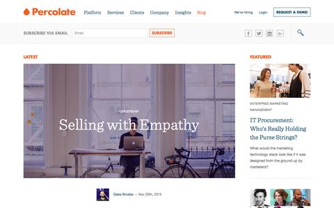 Screenshot of Blog percolate.com - The Percolate Blog | Smart thinking about content, audience, and tech - captured Nov. 21, 2015