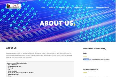 Screenshot of About Page bna-rep.com - About Us | Bongiorno & Associates, Inc. - captured Nov. 23, 2016