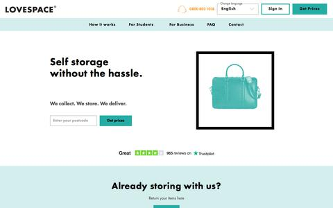Screenshot of Home Page lovespace.co.uk - Convenient, Cheap Storage, London & UK-wide | LOVESPACE - captured Aug. 21, 2019