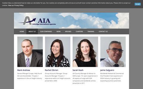 Screenshot of Team Page aiacargo.com - Our Management Team - Airbridge International Agencies - captured Nov. 12, 2018