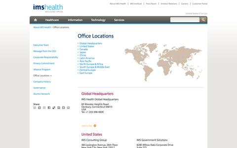 Screenshot of Locations Page imshealth.com - Office Locations - captured Oct. 10, 2014