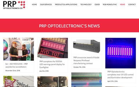 Screenshot of Press Page prpopto.com - PRP Optoelectronics News and Press Release - captured Dec. 13, 2018