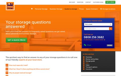 Screenshot of FAQ Page loknstore.co.uk - Storage FAQs  | Lok'nStore - captured Jan. 31, 2016
