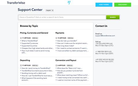 Screenshot of FAQ Page Support Page transferwise.com - TransferWise |        Portal - captured Oct. 10, 2014