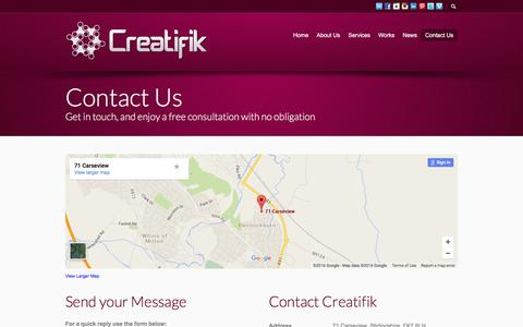 Screenshot of Contact Page creatifik.com - Contact Creatifik - captured July 15, 2016