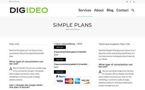 Screenshot of Pricing Page digideo.co - Pricing Simple Plans – Digideo e-Commerce Consulting - captured April 2, 2018