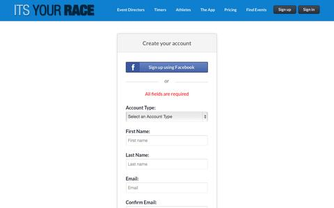 Screenshot of Signup Page itsyourrace.com captured Sept. 19, 2014