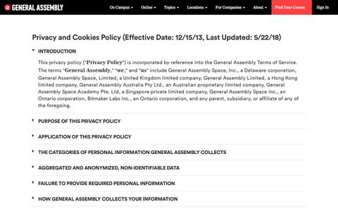 Privacy and Cookies Policy | General Assembly