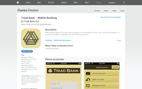 Screenshot of iOS App Page apple.com - Triad Bank – Mobile Banking on the App Store on iTunes - captured Oct. 25, 2014