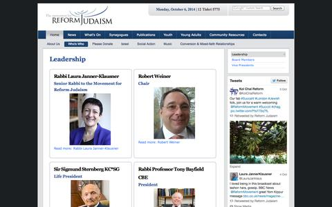Screenshot of Team Page reformjudaism.org.uk - Leadership- The Movement for Reform Judaism - captured Oct. 6, 2014