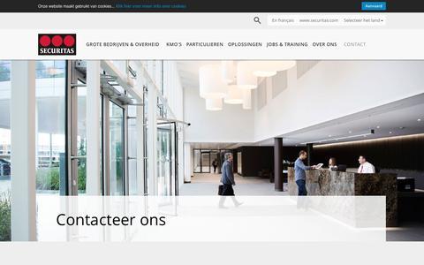 Screenshot of Contact Page securitas.com - Contacteer ons - Securitas - captured Dec. 2, 2016