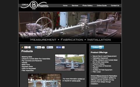 Screenshot of Products Page cbmfok.com - Oklahoma Measurement & Fabrication of Tulsa - captured Oct. 2, 2014