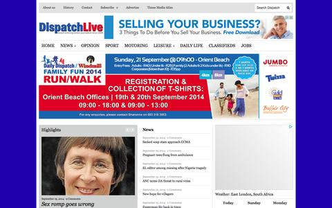 Screenshot of Home Page dispatchlive.co.za - DispatchLIVE - captured Sept. 22, 2014