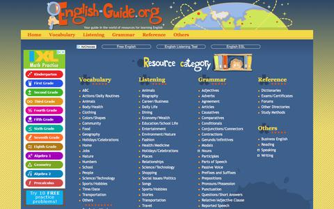 Screenshot of Home Page english-guide.org - Home | English-Guide.org - captured July 9, 2018