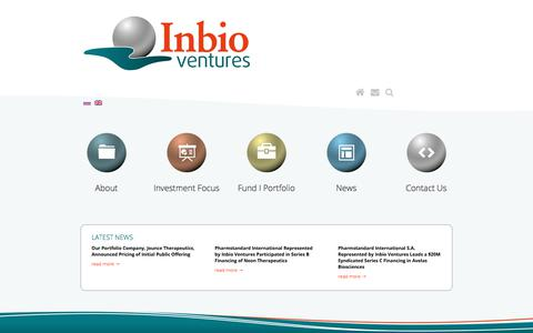 Screenshot of Home Page inbio-ventures.com - Welcome - Inbio Ventures - captured Sept. 13, 2018
