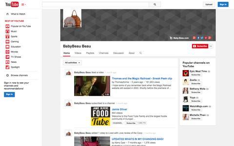 Screenshot of YouTube Page youtube.com - BabyBeau Beau  - YouTube - captured Oct. 23, 2014