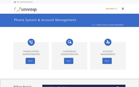 Screenshot of Login Page univoip.com - Account Management - captured Sept. 28, 2018