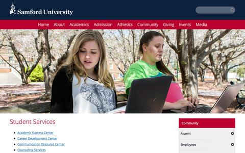 Screenshot of Services Page samford.edu - Student Services at Samford University - captured Oct. 5, 2017