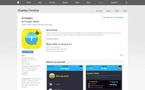 Screenshot of iOS App Page apple.com - instapps on the App Store on iTunes - captured Oct. 23, 2014