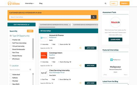 Screenshot of Support Page letsintern.com - Customer service  Internships in India | Customer service Internship 2018 | Letsintern - captured Sept. 21, 2018