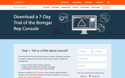 Screenshot of Trial Page bomgar.com - Free Download of Remote Support Software | BOMGAR - captured Sept. 15, 2016