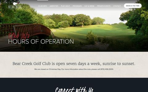 Screenshot of Hours Page bearcreek-golf.com - Hours of Operation | Bear Creek Golf Club - captured Nov. 22, 2016