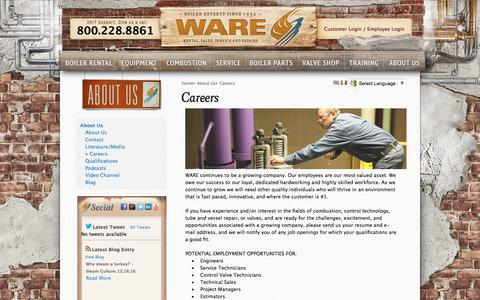Screenshot of Jobs Page wareinc.com - Careers - About US - Boiler - Chiller Company - WARE - captured Dec. 17, 2016