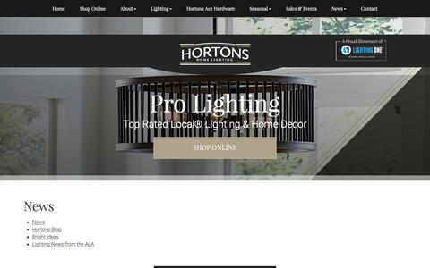 Screenshot of Press Page hortonshome.com - News | Hortons Home Lighting - captured Sept. 3, 2017