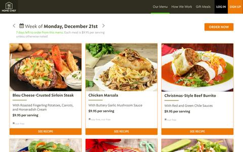 Screenshot of Menu Page homechef.com - Menu For the Week of Monday, December 21 | Home Chef - captured Dec. 12, 2015