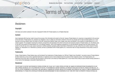 Screenshot of Terms Page prodea.com - Prodea > Contact - captured Sept. 17, 2014