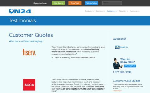 Screenshot of Testimonials Page on24.com - Testimonials - ON24 - captured Oct. 30, 2014