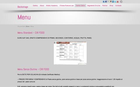 Screenshot of Menu Page backstageschool.com - Menu - captured July 28, 2016