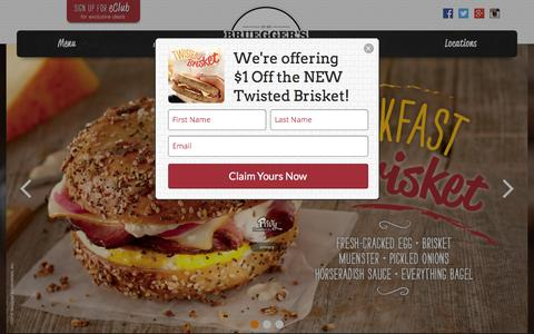 Screenshot of Home Page brueggers.com - Authentic New York Style Bagels - Bruegger's Bagels - captured Feb. 10, 2016