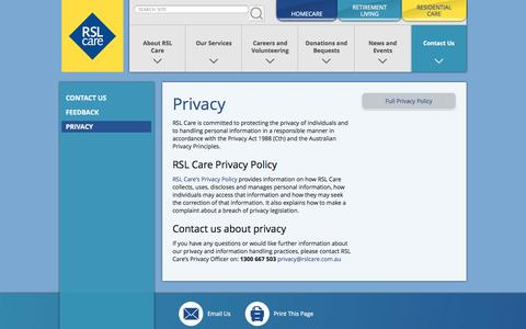 Screenshot of Privacy Page rslcare.com.au - RSL Care : Privacy - captured Sept. 23, 2014