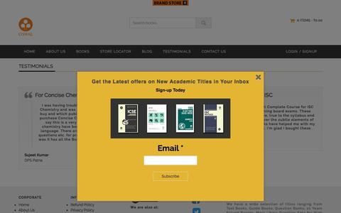 Screenshot of Testimonials Page oswalpublishers.com - Testimonials | Oswal Publishers - captured Sept. 21, 2018