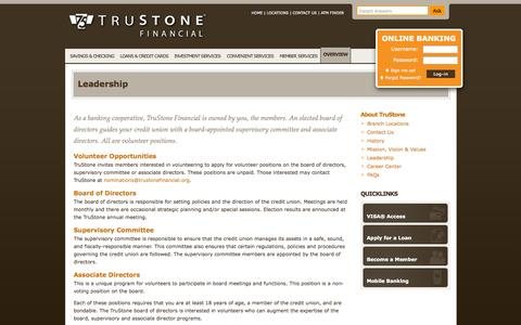 Screenshot of Team Page trustonefinancial.org - TruStone Financial - Leadership - captured Oct. 26, 2014