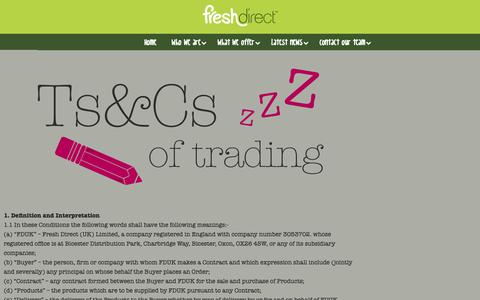 Screenshot of Terms Page freshdirect.co.uk - Terms and Conditions (Trading) - Fresh DirectFresh Direct - captured Nov. 11, 2018