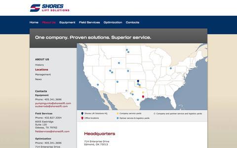 Screenshot of Locations Page shoreslift.com - Shores Lift Solutions Locations | shoreslift.com - captured Oct. 7, 2014