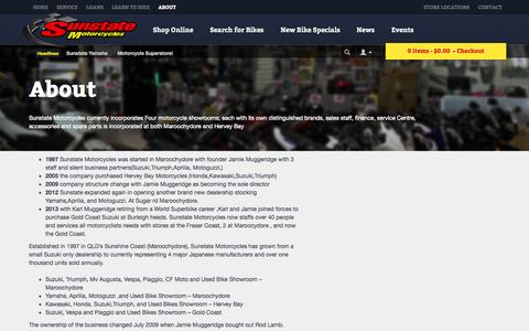 Screenshot of About Page sunstatemotorcycles.com.au - About » Sunstate Motorcycles - captured Oct. 7, 2014