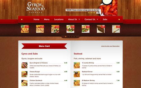 Screenshot of Menu Page gyrosandseafoodexpress.com - Menu - Save Time. Spend Less. Eat Better. - captured Oct. 3, 2014