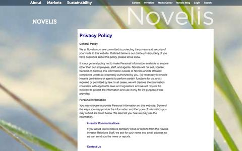 Screenshot of Privacy Page novelis.com - Privacy Policy - captured Sept. 22, 2014