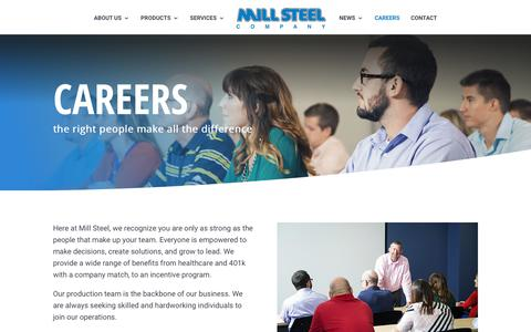 Screenshot of Jobs Page millsteel.com - Careers | Mill Steel Company - captured Nov. 17, 2018