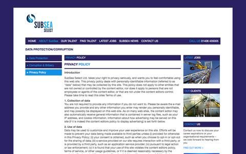 Screenshot of Privacy Page subseaselect.co.uk - Sub Sea Select - captured Oct. 8, 2014