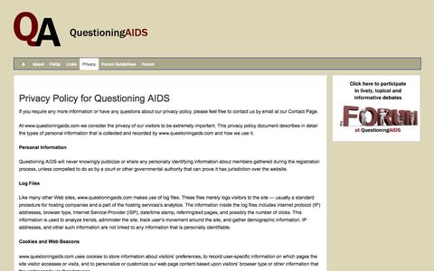 Screenshot of Privacy Page questioningaids.com - Privacy - Questioning AIDS - captured Oct. 31, 2014
