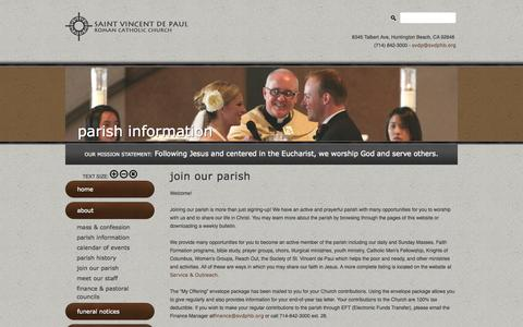 Screenshot of Signup Page svdphb.org - join our parish - Saint Vincent de Paul Catholic Church - captured Oct. 7, 2014
