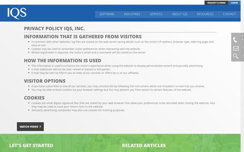 Screenshot of Privacy Page iqs.com - Privacy Policy | IQS, Inc. - captured Nov. 19, 2016