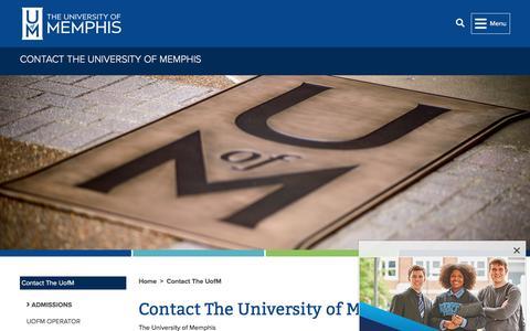 Screenshot of Contact Page memphis.edu - Contact The University of Memphis -        Contact The UofM        - The University of Memphis - captured Aug. 17, 2019