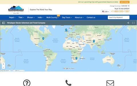 Screenshot of Contact Page himalayanglacier.com - Himalayan Glacier Contact Address - captured Sept. 28, 2019